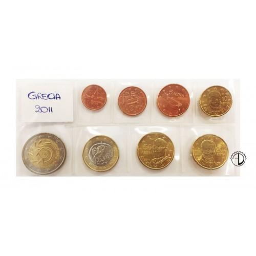 Grecia - 2011 - Serie Sciolta 8 v. (con 2€ comm.)